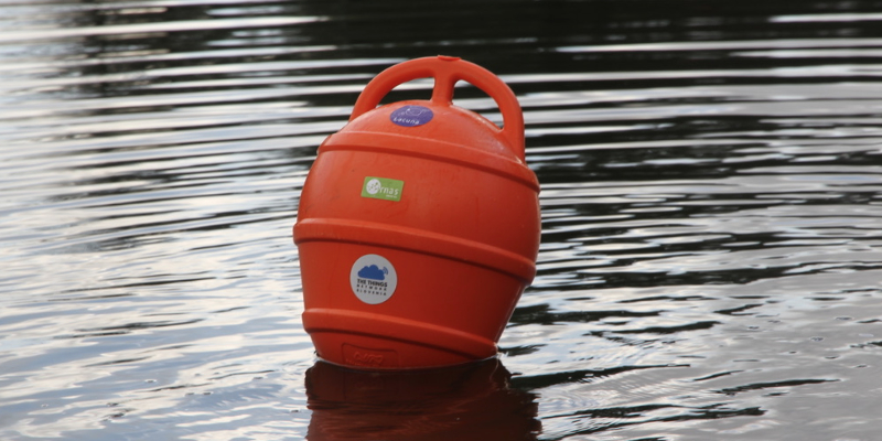 Marine buoy equipped with sensor and LoRaWAN communications module